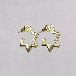 Crystallised Star Hoop Earrings
