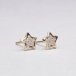 Gold Star Stud Earrings with Cubic Zirconia