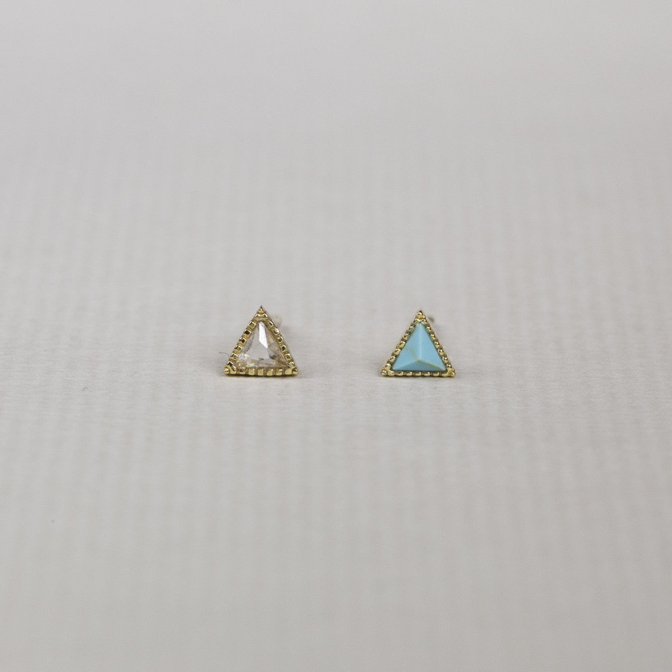bright and sparkly mini triangle studs in most delicious colours