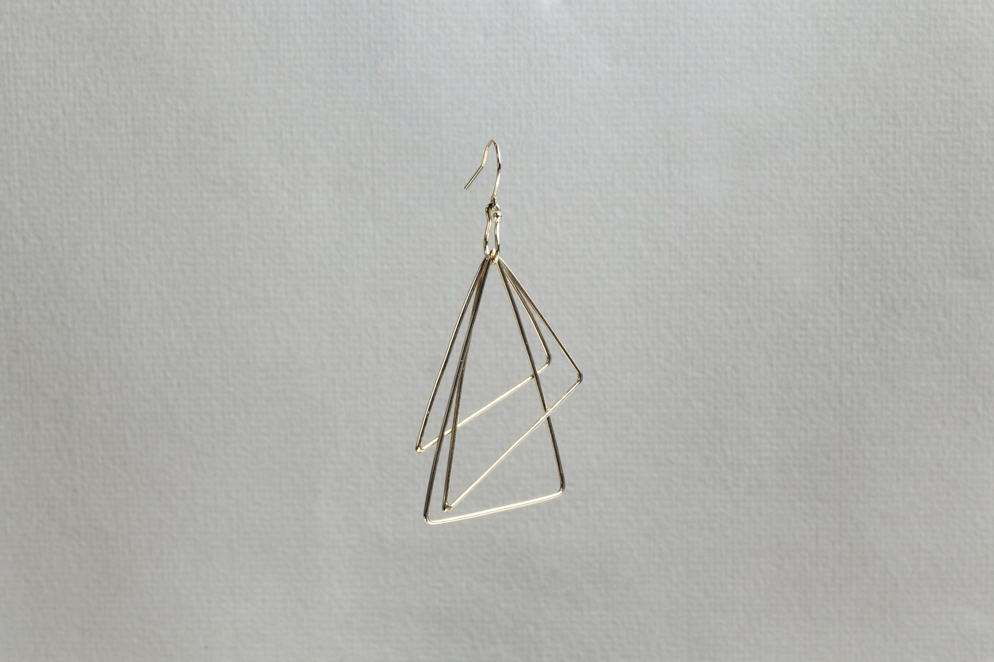 Gold Triangle Ring Earring