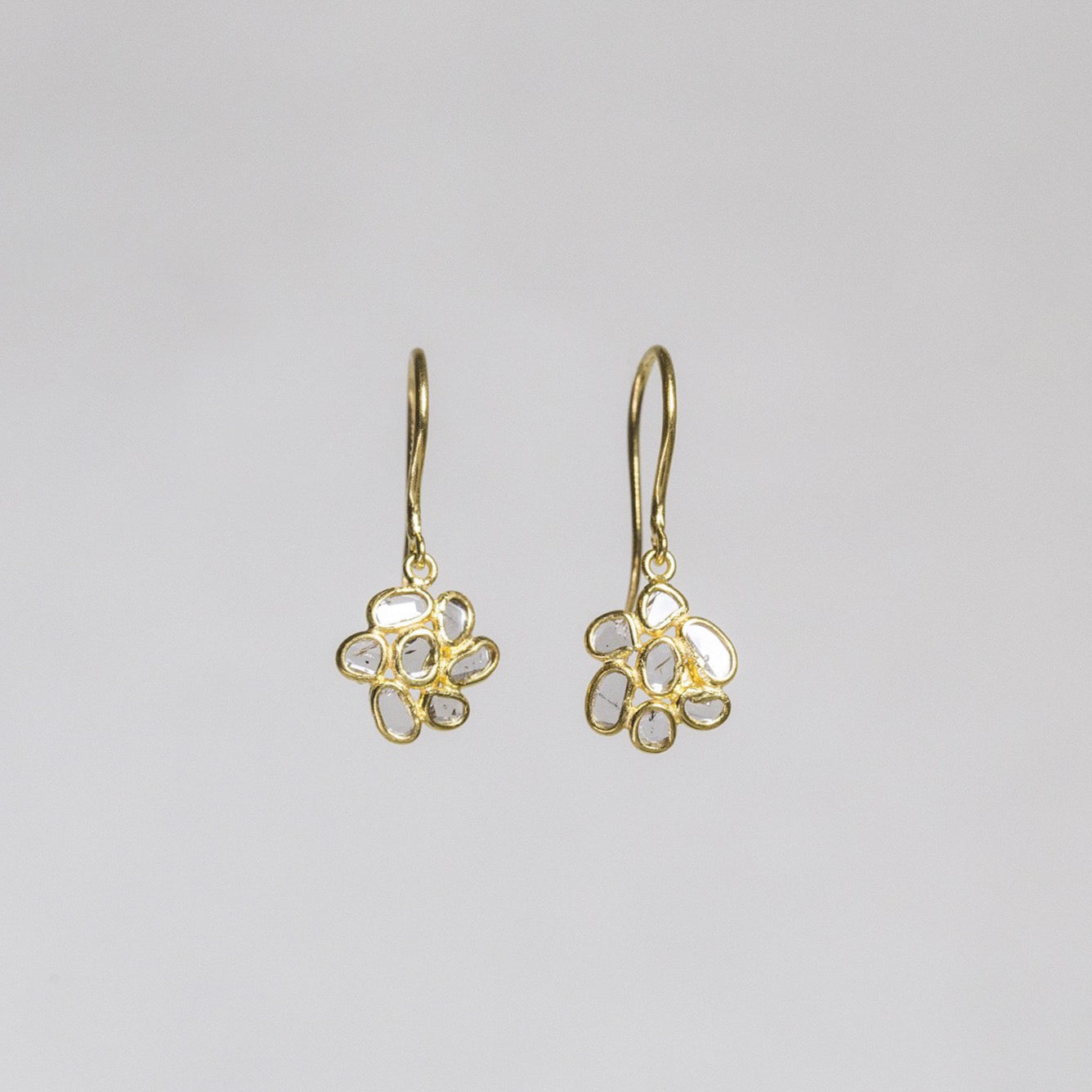 Diamond Slice Flower Drop Earrings