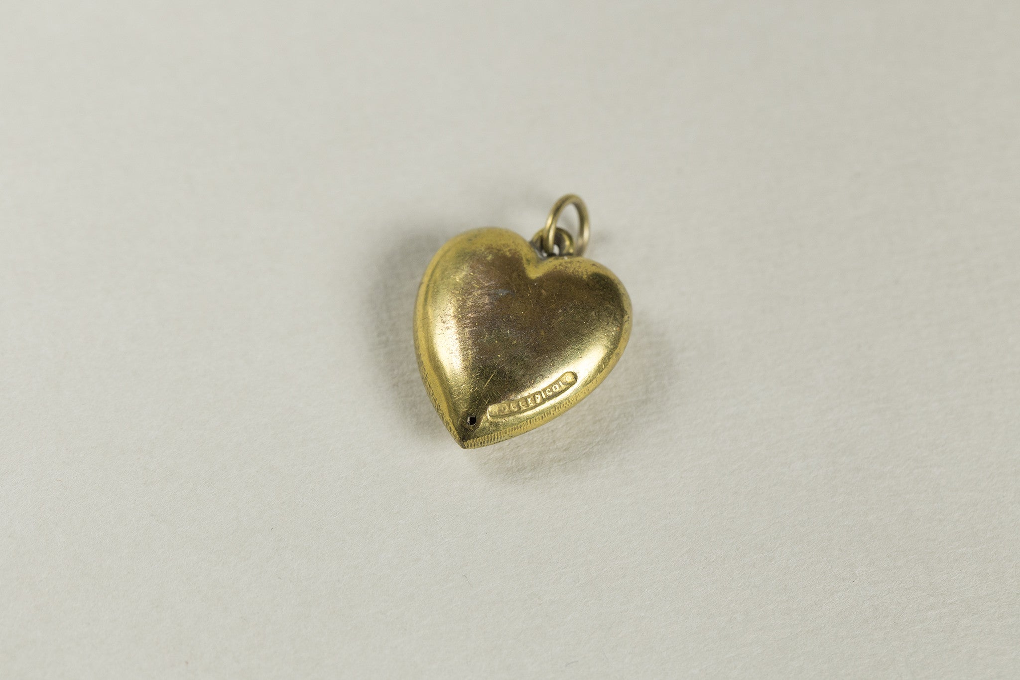 Vintage Brass and Turquoise Heart Charm