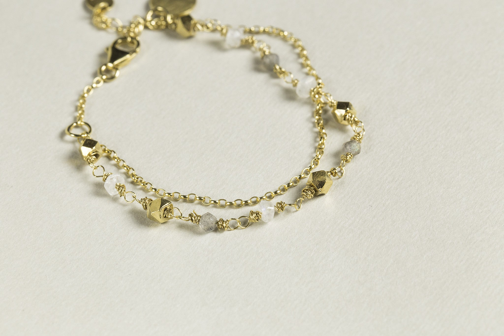 all components of the bracelet, except for the stones, are made of gold plated silver