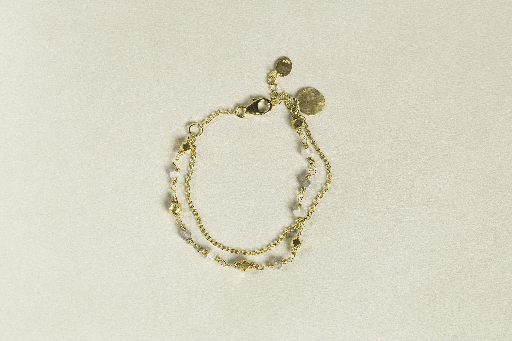 Labradorite/Moonstone Bead and Nugget Bracelet