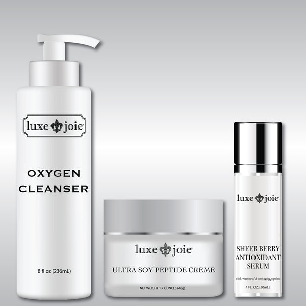 Skincare bundle set for dry skin.  Oxygen cleanser, ultra soy peptide creme, and sheer berry antioxidant serum.  Save over 30% when you order the set.  Comes with free priority shipping
