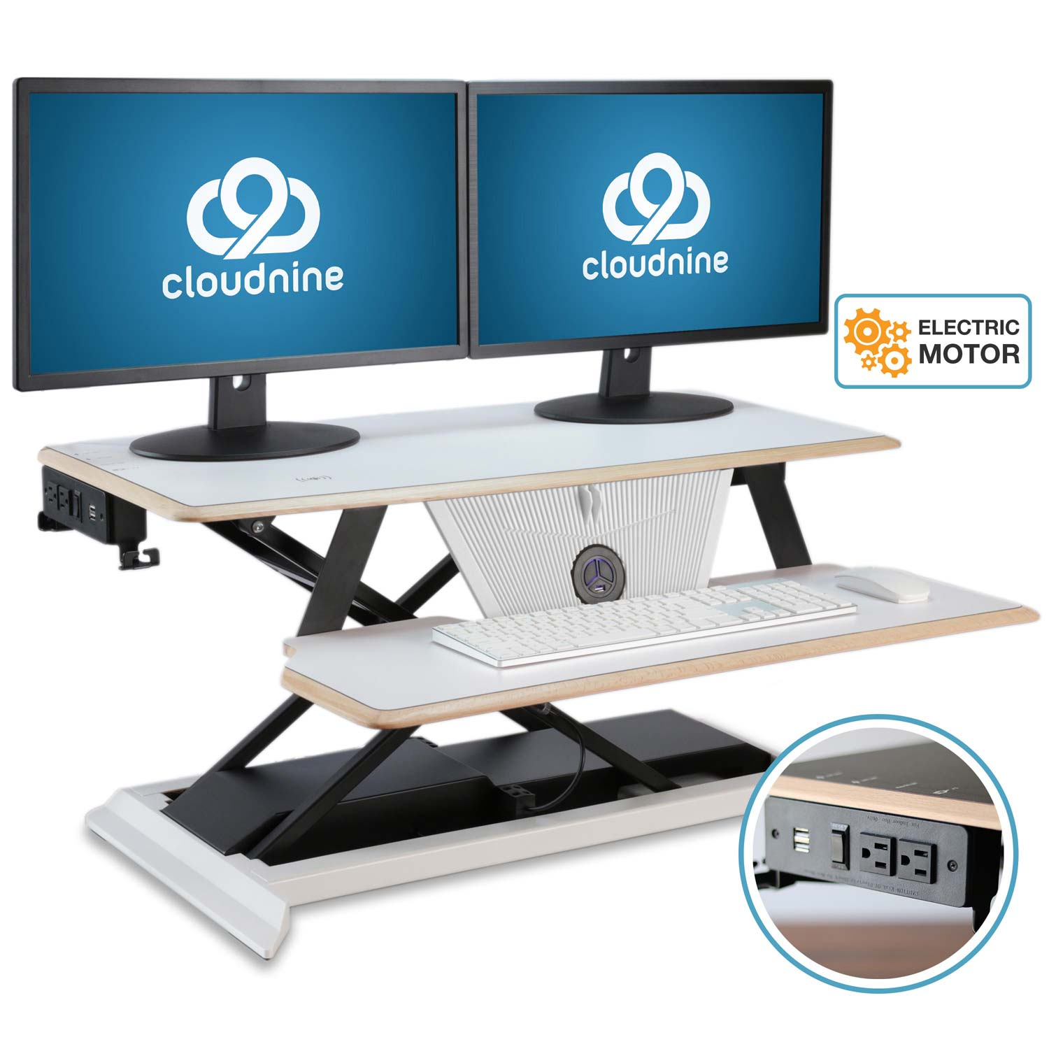 Picture of: Cloud Nine Electric Height Adjustable Desk Converter Sit To Stand Desk Cloudnine Ergonomic Solutions