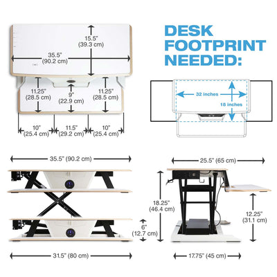 Cloud Nine Electric Height Adjustable Desk Converter - WHITE