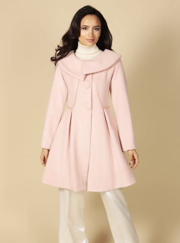 'Pillow Talk' Italian Cashmere and Wool Dress Coat in Rosa