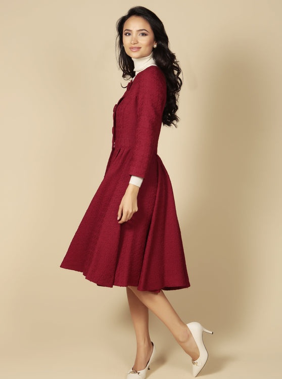 LIMITED EDITION 'My Fair Lady' Italian Wool Swing Dress Coat in Rosso