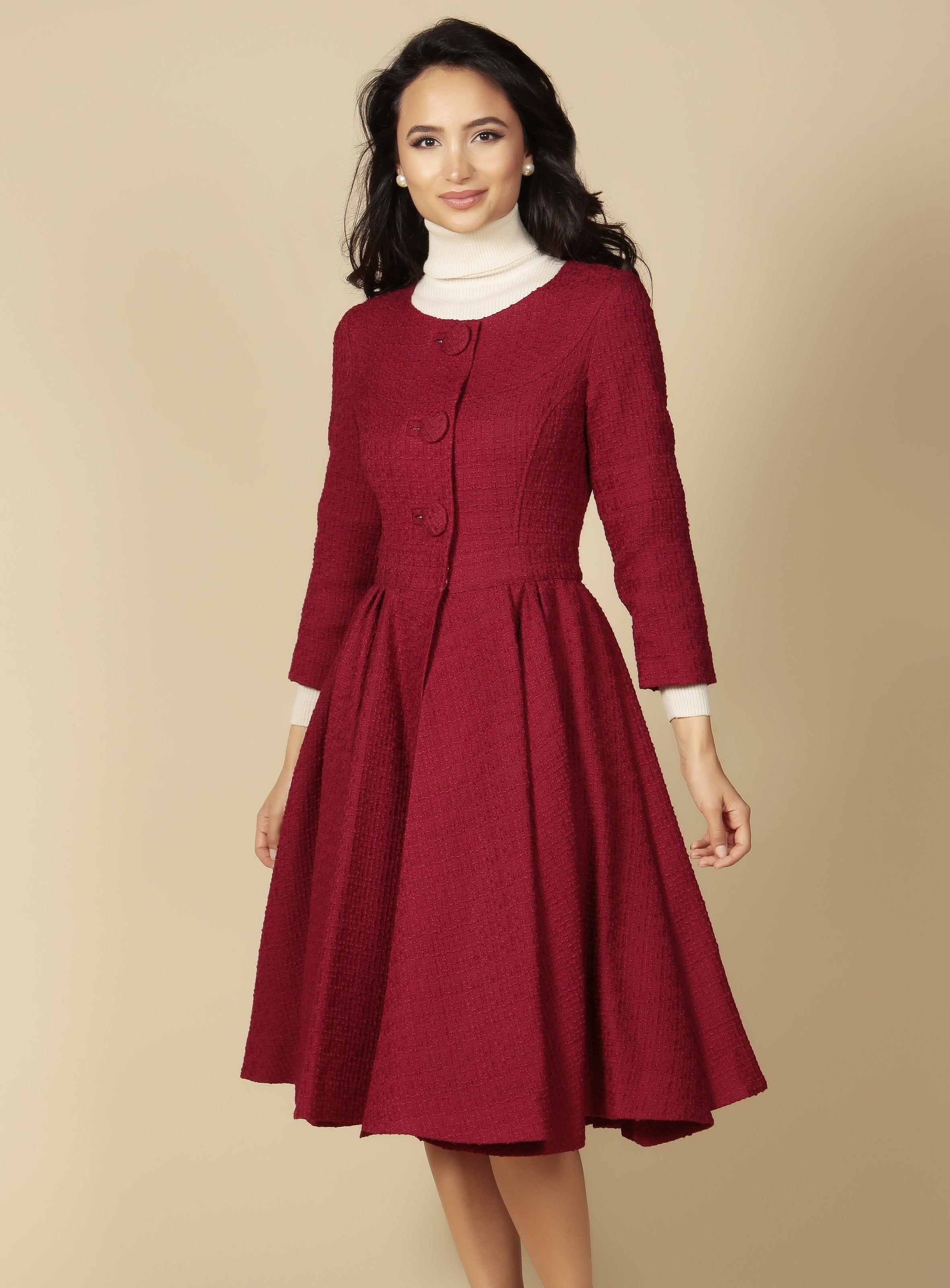'My Fair Lady' Italian Wool Swing Dress Coat in Rosso