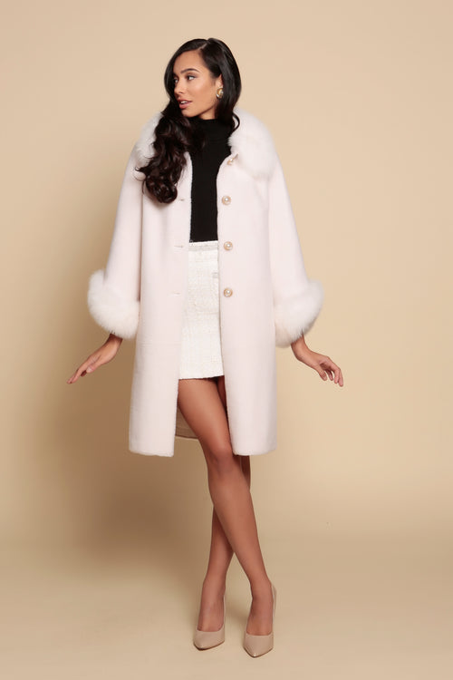 'An Affair to Remember' 100% Wool and Faux Fur Teddy Coat in Bianco