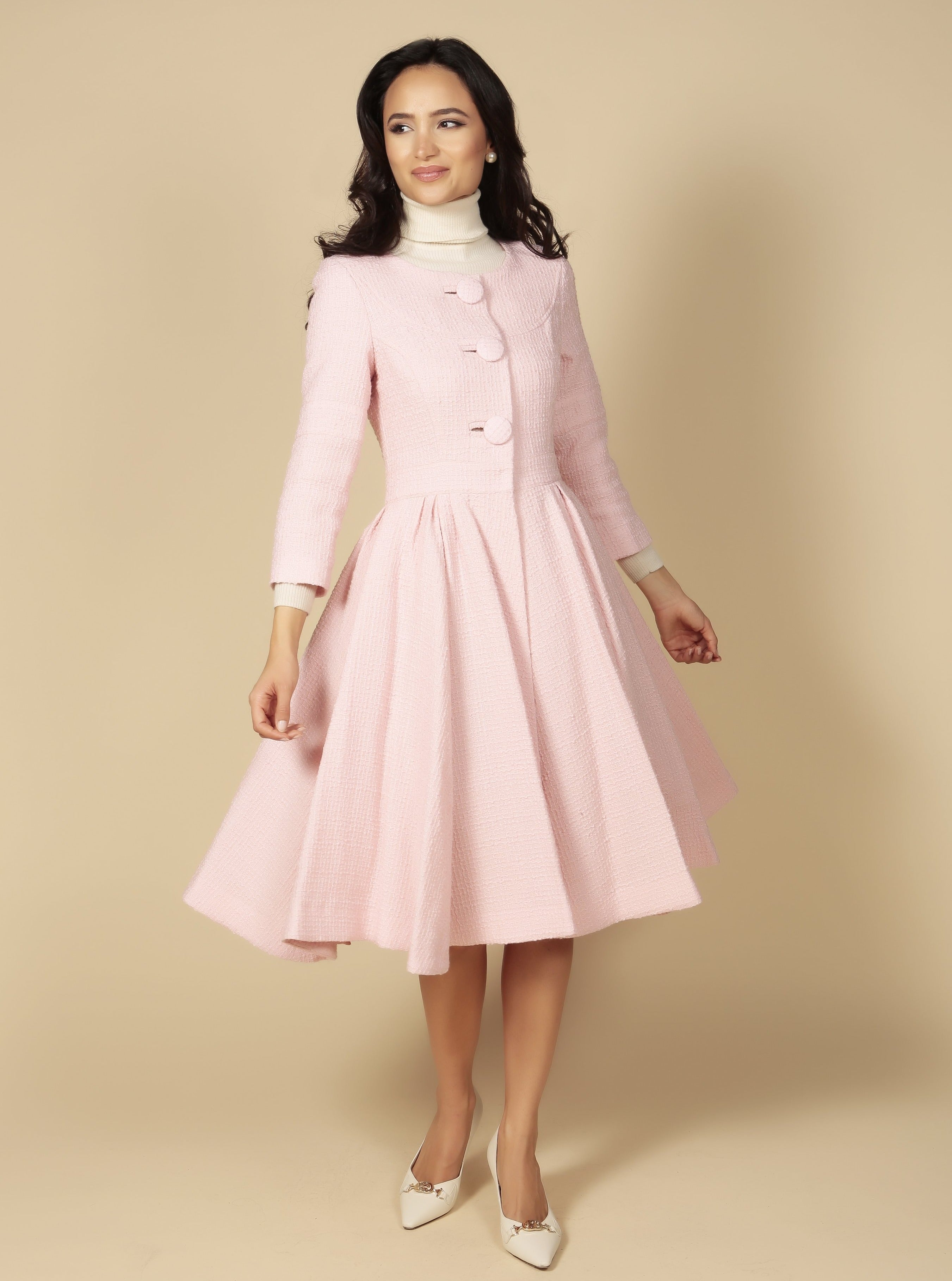 'My Fair Lady' Italian Wool Swing Dress Coat in Rosa