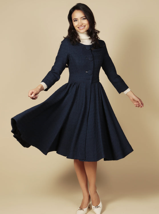 LIMITED EDITION 'My Fair Lady' Italian Wool Swing Dress Coat in Blu