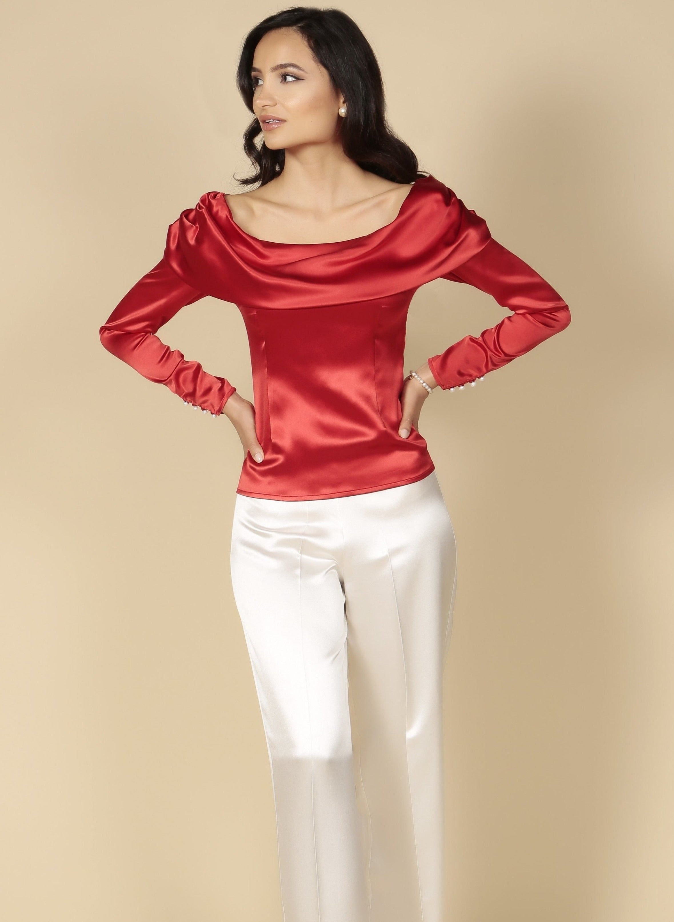 'To Catch A Thief' Heavy Silk Satin Bardot Cowl Neck Blouse in Rosso