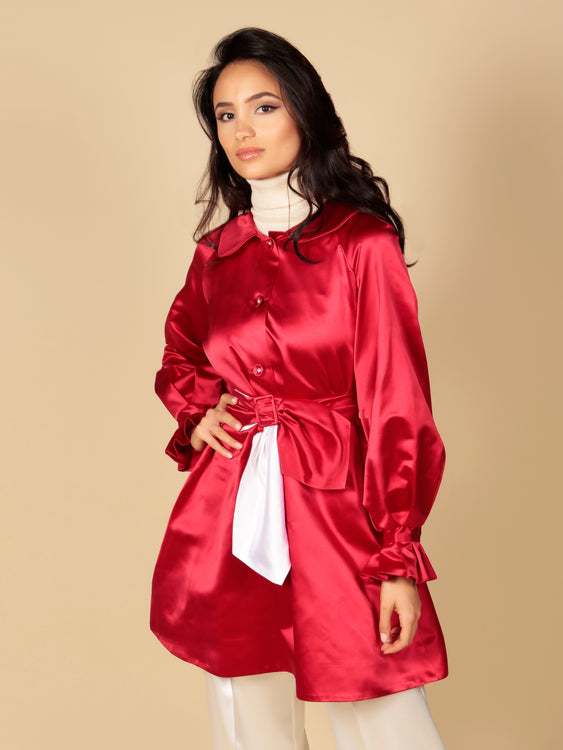 LIMITED EDITION 'La Dolce Vita' Silk Duchess Evening Coat in Rosso
