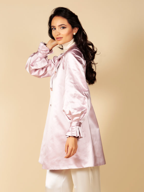 LIMITED EDITION 'La Dolce Vita' Silk Duchess Evening Coat in Rosa