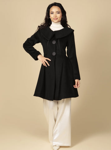 'Pillow Talk' Italian Cashmere and Wool Dress Coat in Nero