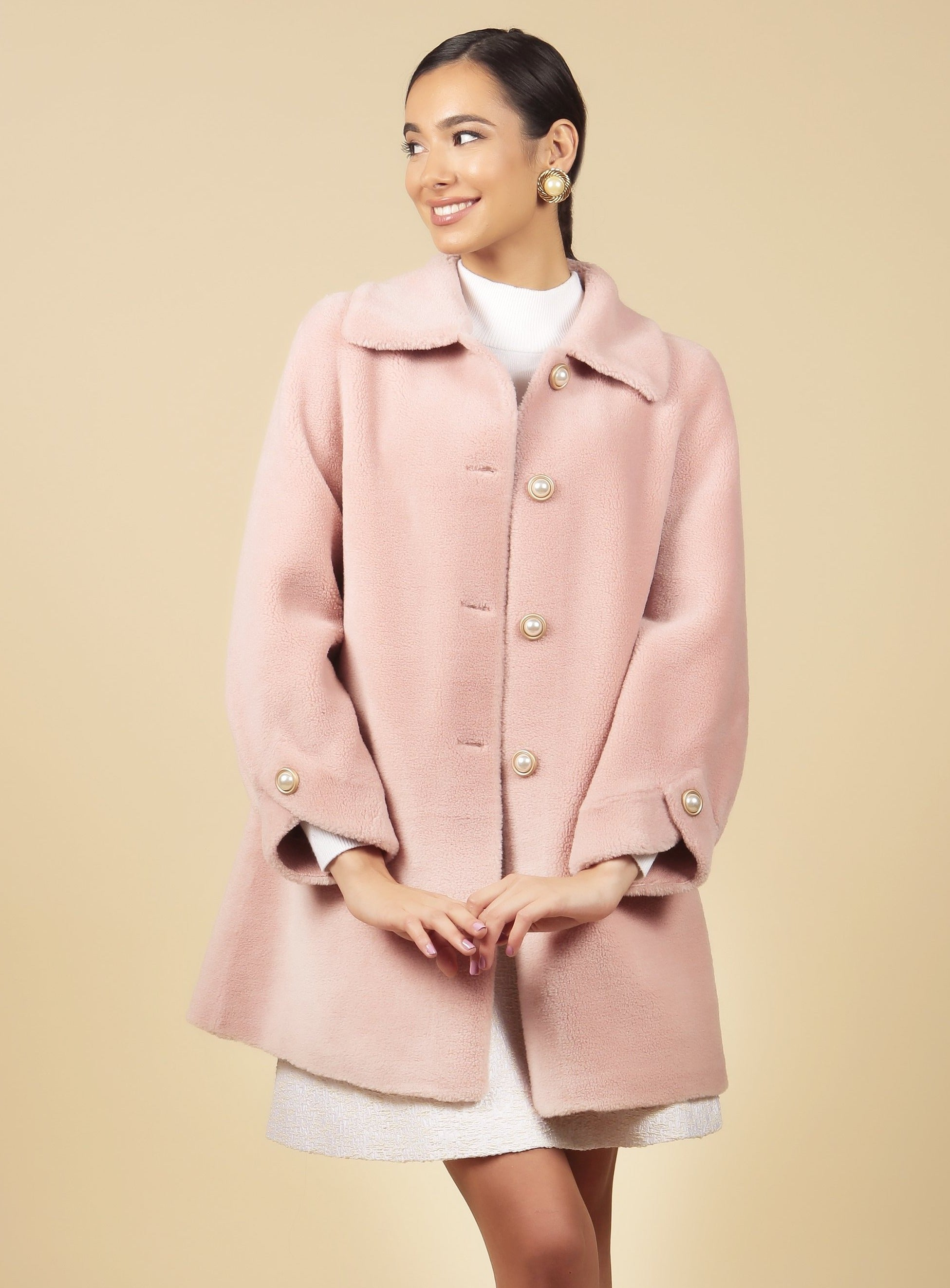 'The Last Time I Saw Paris' 100% Wool Coat in Rosa