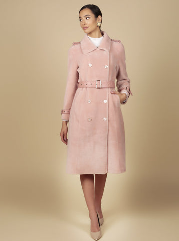 'Singin' in the Rain' 100% Wool Trench Coat in Rosa