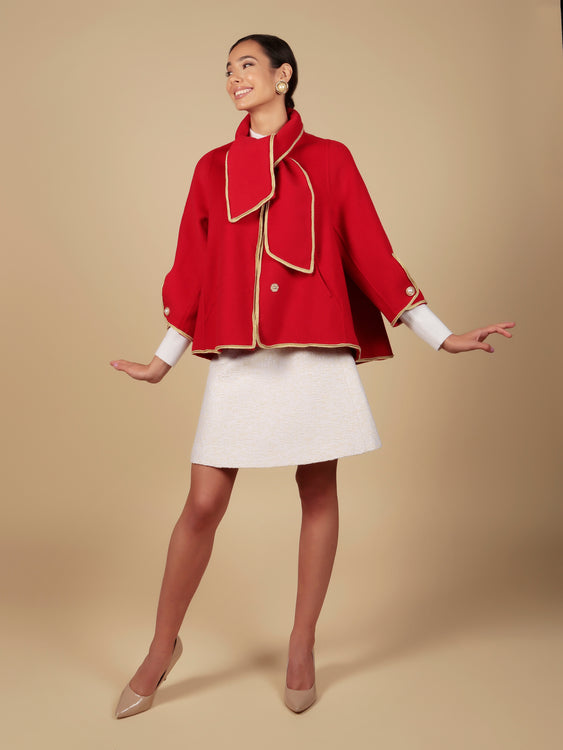 'Paris When It Sizzles' 100% Wool Shawl Coat in Rosso