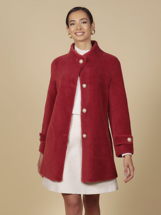 'All About Eve' 100% Wool Coat in Rosso