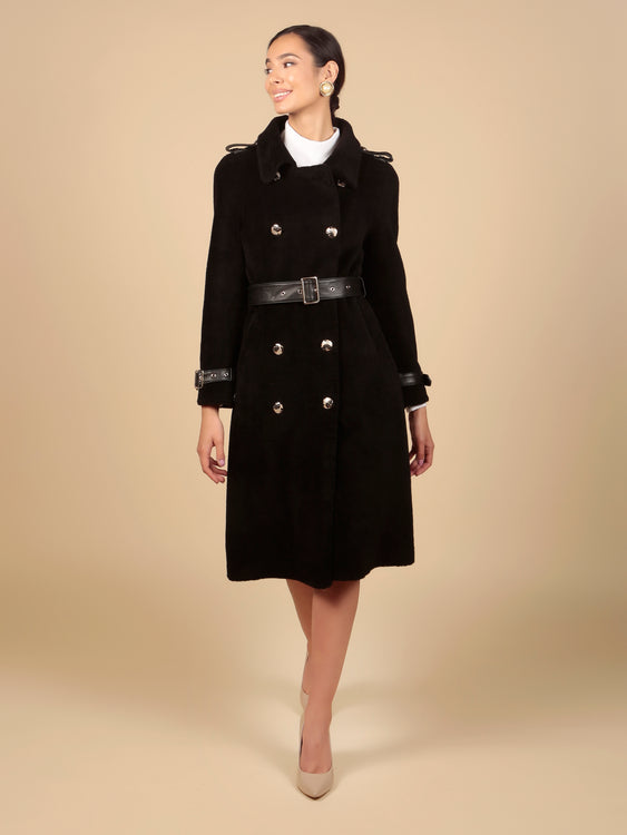 'Singin' in the Rain' 100% Wool Trench Coat in Nero