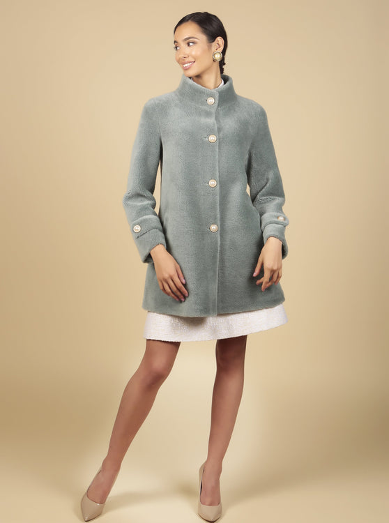 'All About Eve' 100% Wool Coat in Blu