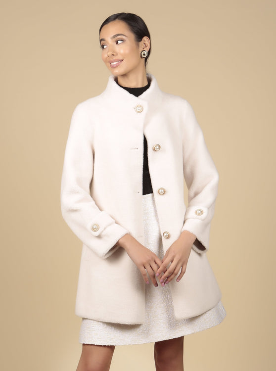 'All About Eve' 100% Wool Coat in Bianco