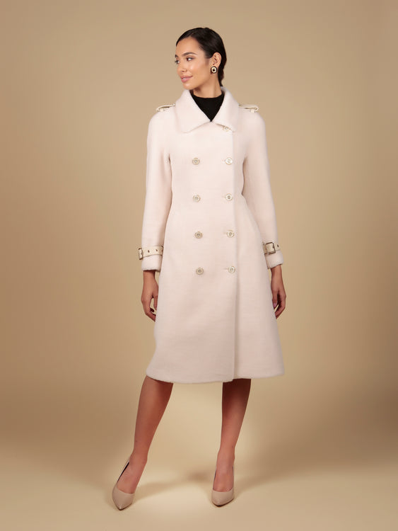 'Singin' in the Rain' 100% Wool Trench Coat in Bianco
