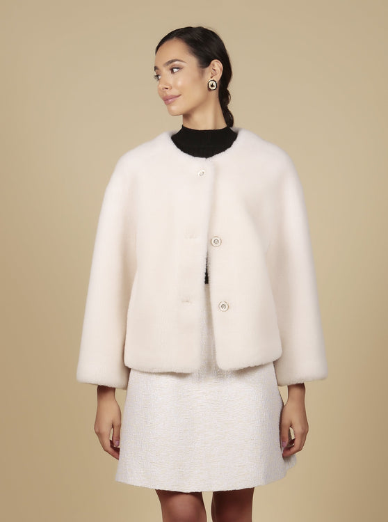 'Sunset Boulevard' 100% Wool Jacket in Bianco