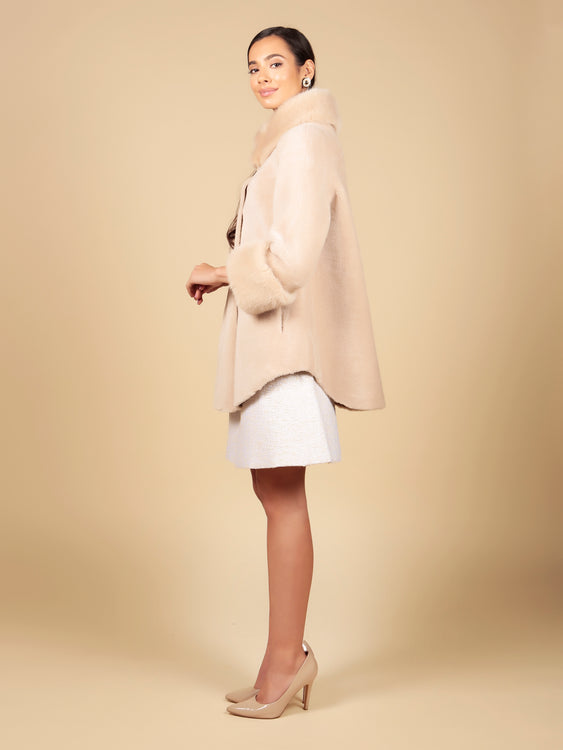 'Gone With the Wind' 100% Wool Cape Coat in Cammello