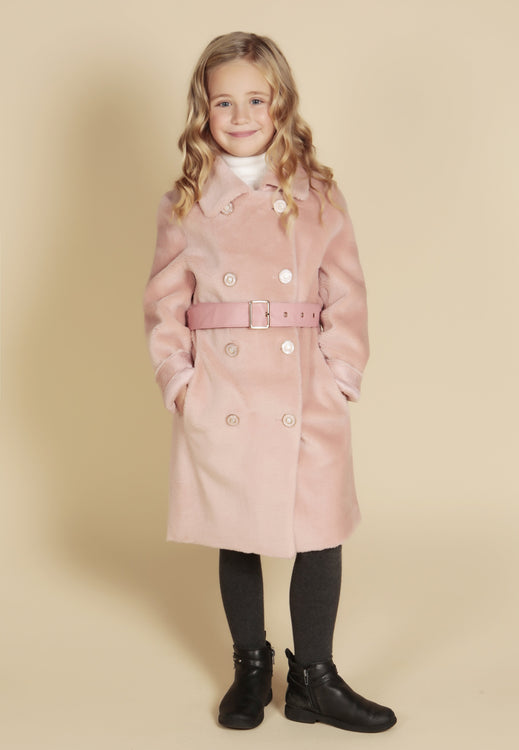 'Mini' 'Singin' In The Rain' 100% Wool Coat in Rosa
