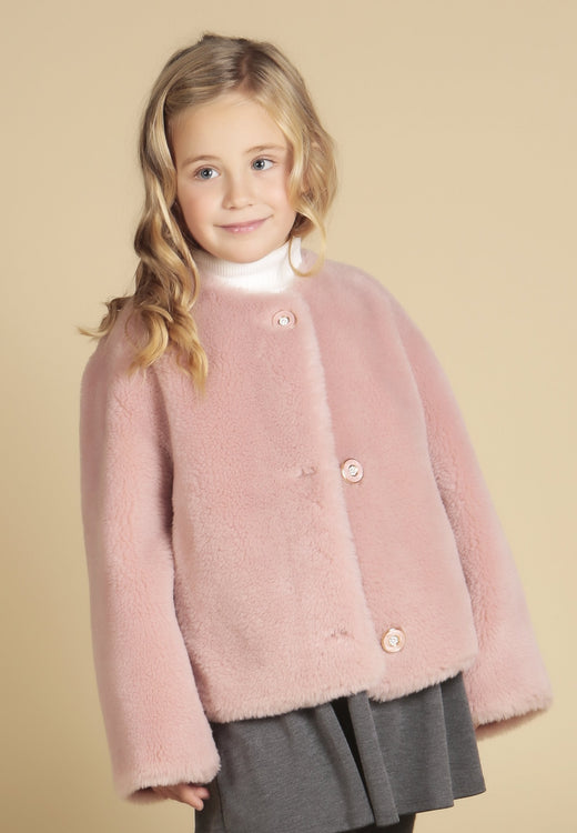 'Mini' 'Sunset Boulevard' 100% Wool Coat in Rosa