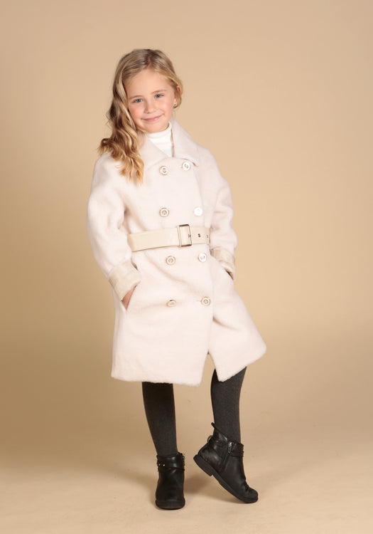 'Mini' 'Singin' In The Rain' 100% Wool Coat in Bianco