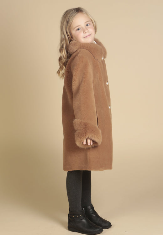 'Mini' 'An Affair To Remember' 100% Wool Coat in Marrone