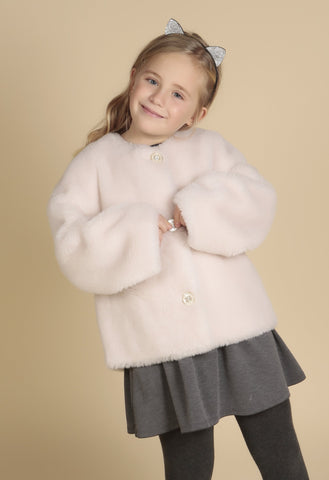 'Mini' 'Sunset Boulevard' 100% Wool Coat in Bianco