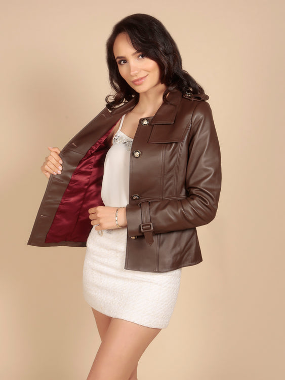 'Rebel Without A Cause' 100% Leather Jacket in Marrone