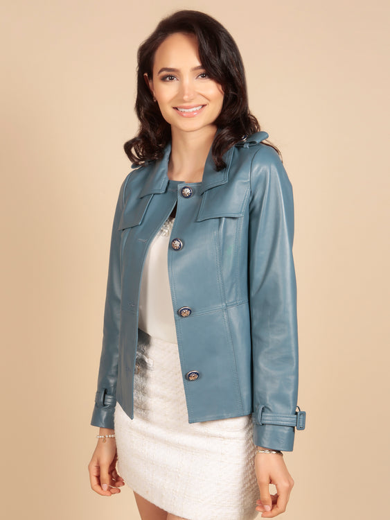 'Rebel Without A Cause' 100% Leather Jacket in Azzurro