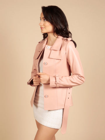 'Rebel Without A Cause' 100% Leather Jacket in Rosa