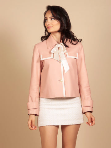 'Gigi' 100% Leather Jacket in Rosa