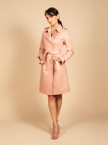 'Belle Du Jour' 100% Leather Trench Coat in Rosa