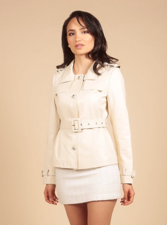 'Rebel Without A Cause' 100% Leather Jacket in Crema