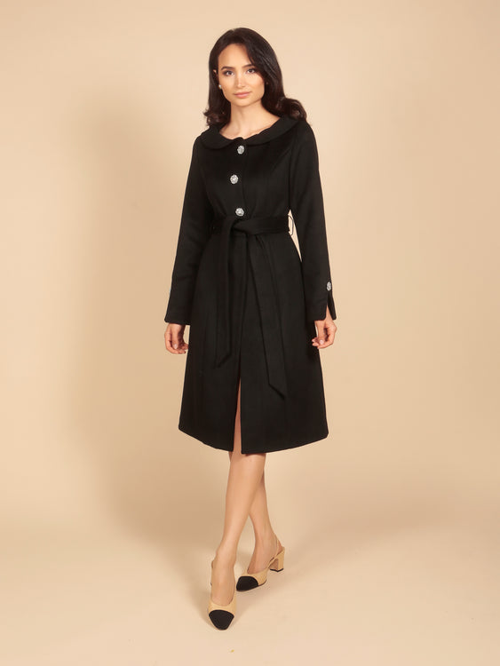 'The Swan' 100% Cashmere and Wool Dress Coat in Nero