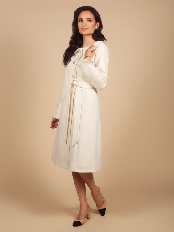 'The Swan' 100% Cashmere and Wool Dress Coat in Crema