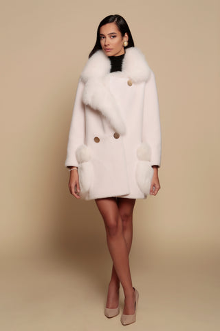 'High Society' 100% Wool and Grandiose Faux Collar Coat
