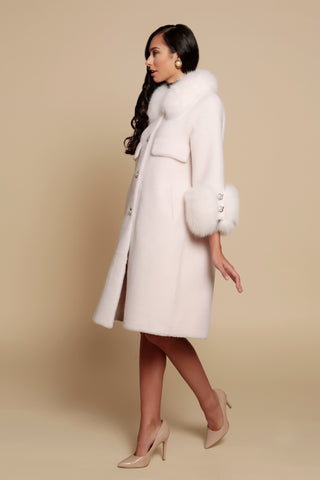 'Roman Holiday' 100% Wool and Faux Fur Coat in Bianco