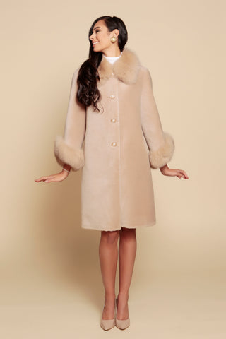 'An Affair to Remember' 100% Wool and Faux Fur Teddy Coat in Cammello