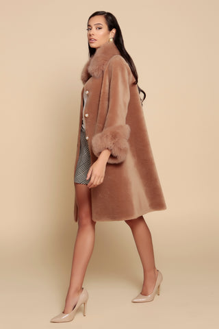 'An Affair to Remember' 100% Wool and Faux Fur Teddy Coat in Marrone