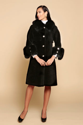 'Roman Holiday' 100% Wool and Faux Fur Coat in Nero