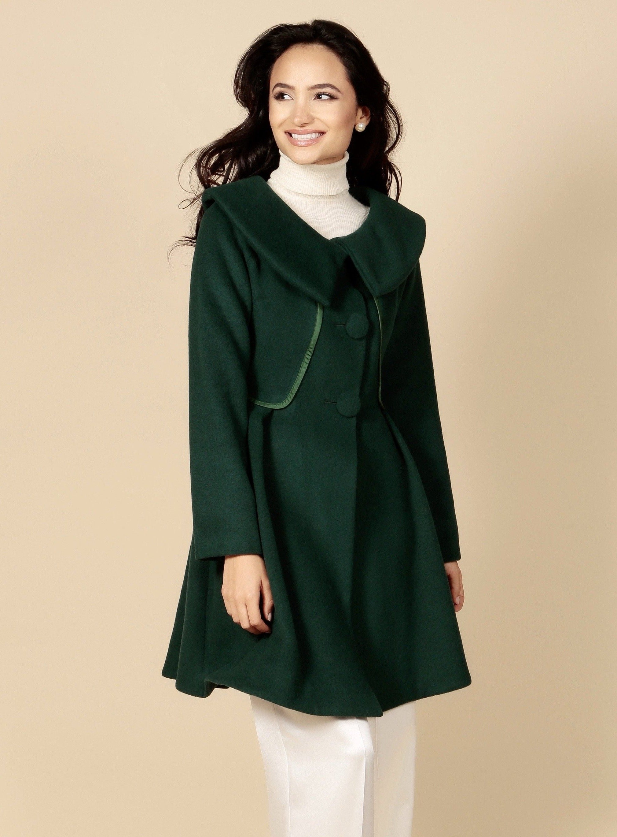 'Pillow Talk' Italian Cashmere and Wool Dress Coat in Verde